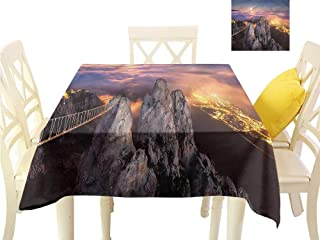 WilliamsDecor Table Cloths Spill Proof Americana,Full Moon Sunset Alps Dining Table Cover W 36