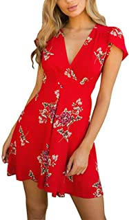 HODOD Women's Floral Print Sleeve Sexy Deep V-Neck Tunic Top Casual Mini Dress