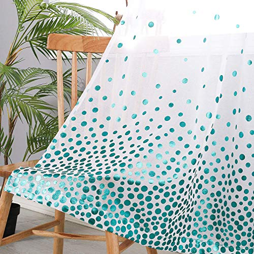 Hiasan Polka Dots Foil Printed Sheer Curtains for Living Room - Faux Linen Grommet Voile Confetti Window Curtains for Bedroom and Kids Room, 52 x 84 Inch Long, Teal, Set of 2 Curtain Panels