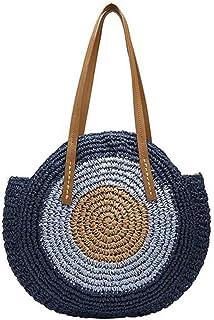GSERA Strand Rattan Tasche Handgewebte Stroh Tasche Böhmische Handtasche Reise Weibliche Einkaufstasche Wicker Bag