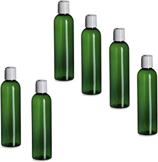 6 Pack – 8 oz -Green Cosmo Plastic Bottles – White Flip Top - for Essential Oils, Perfumes, Cleaning Products.- By Natural...