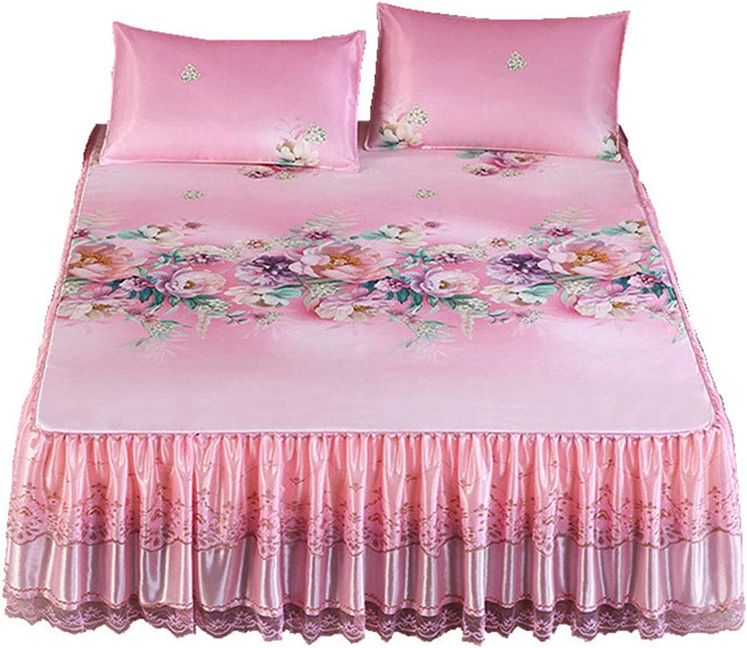 Summer Mattress, Three-Piece, Lace Bed Skirt Printing Ice Silk Cooling Folding Sleeping Pad, Suitable for Home, Dormitory, Gift Pink 2X2.2M