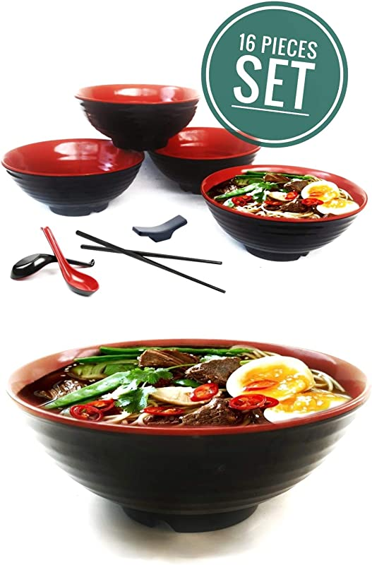 4 Set 16 Piece Ramen Bowl Set Asian Japanese Style With Spoons Chopsticks And Stands Restaurant Quality Melamine Large 32 Oz For Noodles Pho Noodle Udon Thai Dinnerware For Any Soup Meal