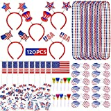 MOVINPE 120 Pcs Patriotic Party Favors, 4th of July Accessories Headbands, Shutter Shades Glasses,...