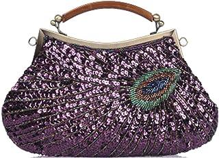 Vintage Ladies Dinner Bag Quality Handmade Beaded Bag Peacock Pattern Handbag/Shoulder/Diagonal/Female-multi-color Optional