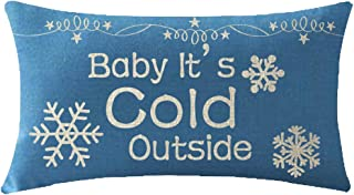 ITFRO Mothers Sister Merry Christmas Birthday Gift Baby Its Cold Outside Snowflakes Waist Body Blue Cotton Burlap Linen Throw Pillowcase Cushion Cover Sofa Decorative Oblong 12x20 Inches (Blue)
