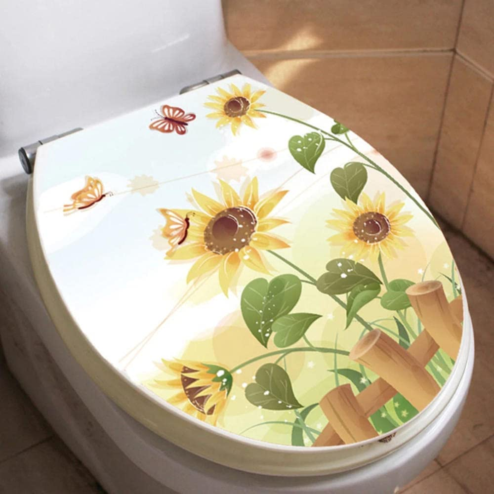 service Haonmdqay Butterfly Sunflower Bathroom In a popularity Wall T Decor Home Sticker