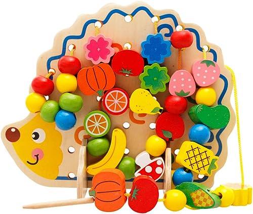 SJZC Circuits De Motricité Cube Perle Labyrinthe Jouet Jouets Bois Bead Maze Fruit HéRisson Perlé