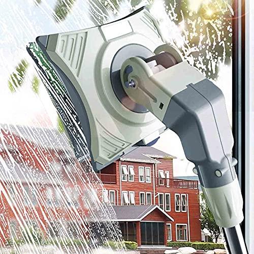 SSDM Limpiador de Ventanas de Doble Cara, Limpiador de Ventanas con rotación de 360 °, Limpiador de Vidrio Grueso para Pisos Altos, con Poste de extensión