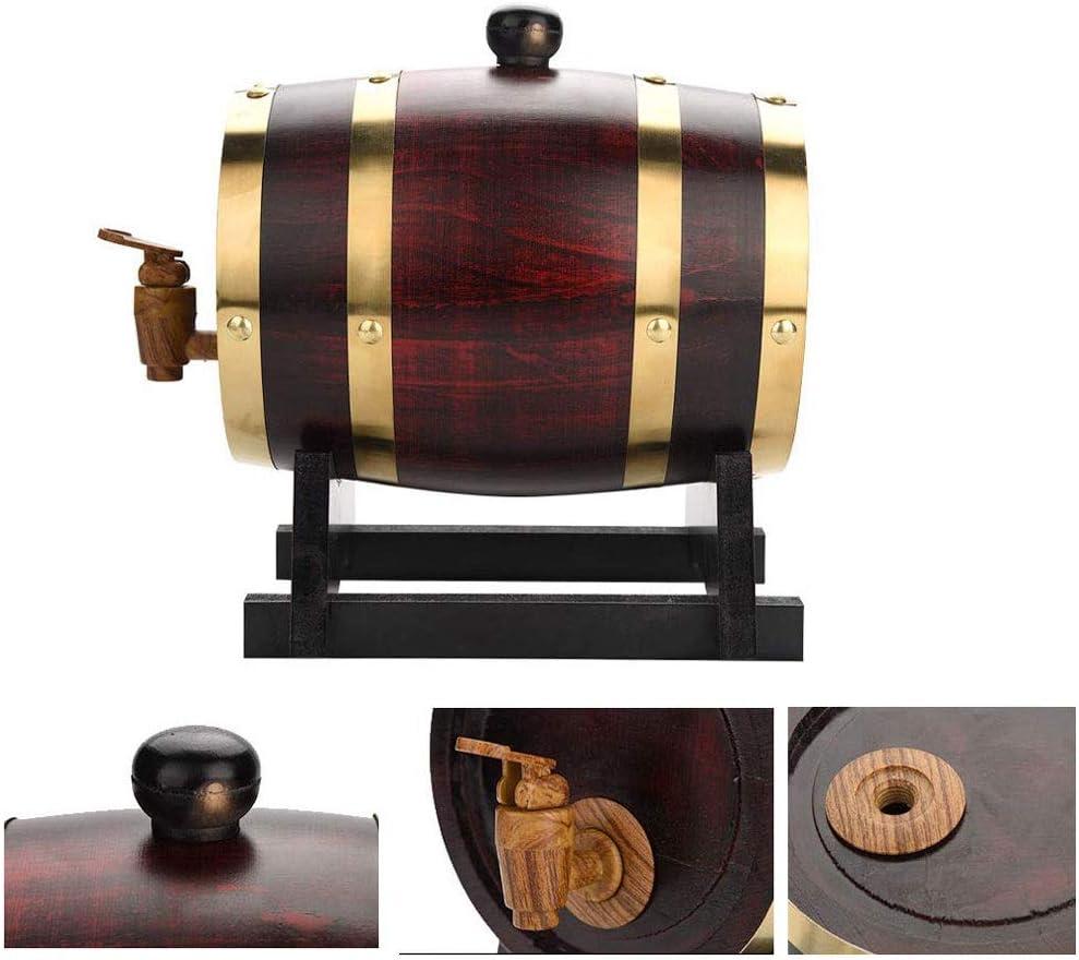 Barril de vino Barril de vino de roble, 1.5L, 3L, 5L, 10L Durable Madera vintage Barril de vino Dispensador de vino con, Usado para Cubo de almacenamiento Barriles de cerveza para Barril de envejecimi