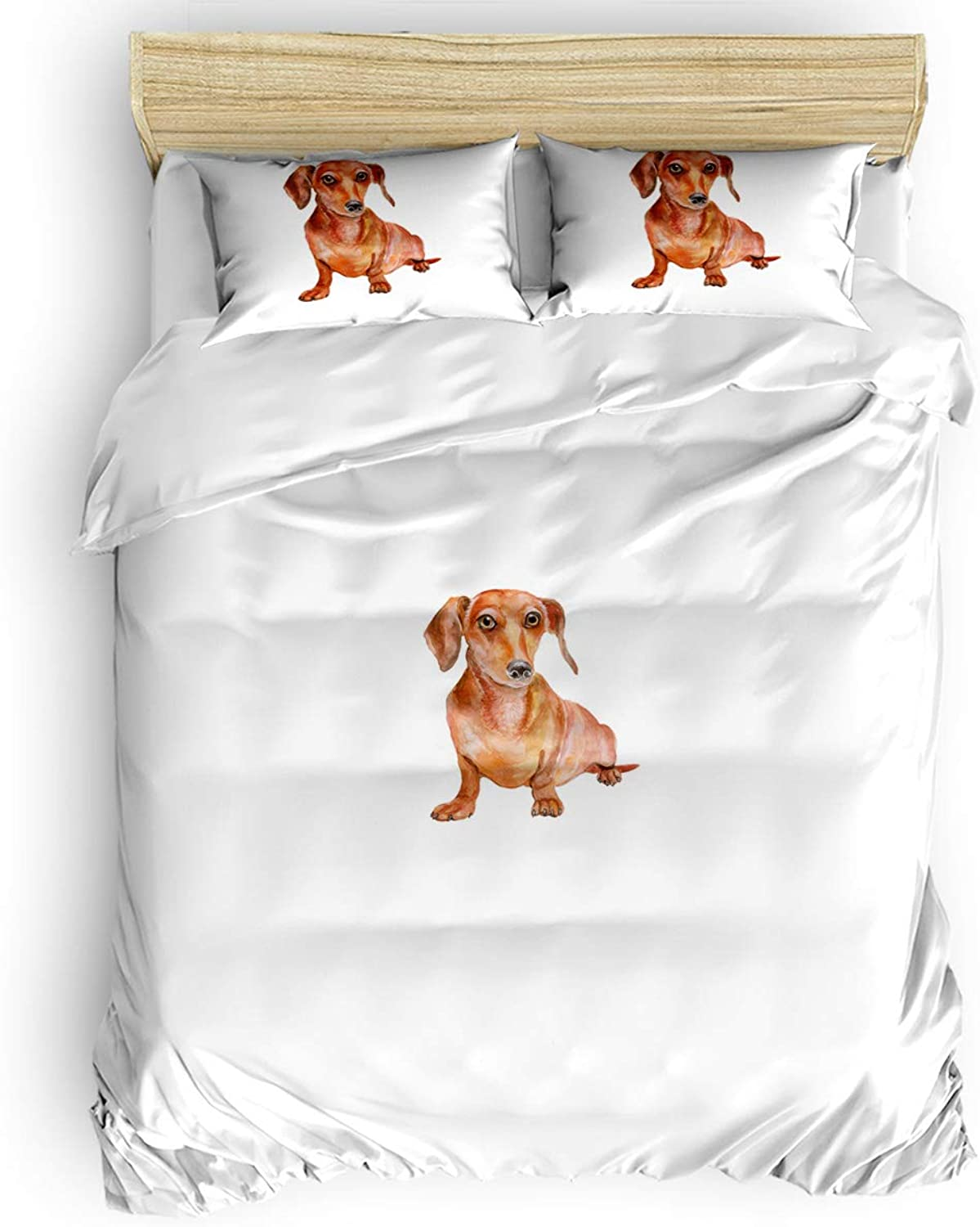 Fandim Fly Bedding Set King Size, Cartoon Style Print Cute Domestic Dog Pets in Watercolors Comforter Cover Sets for All Season