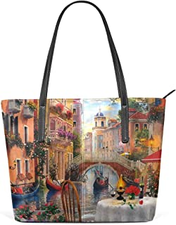 FANTAZIO Handtasche Schulter Romantisch Venedig Wasser Stadt Muster Schulter Handtasche