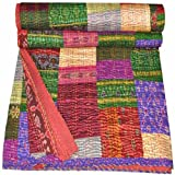 Indian Silk Sari Bedspread Kantha Blanket Handmade VIntage Patola Quilts Throw, Kantha Colourful Design Handmade Quilt, King Antique kantha Quilt, 90x108 Inch. By Bhagyoday
