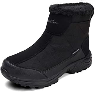 Men's Warm Snow Boots, Fur Lined Waterproof Winter Shoes,...