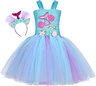 COTRIO Little Girls Mermaid Birthday Party Tutu Dress Toddler Halloween Costume Outifts Kids Princess Fancy Dresses with H...