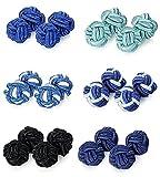 Besteel 6 Pares Gemelos Nudo Seda Azul Negro Gemelos Camisa Hombre Mujer