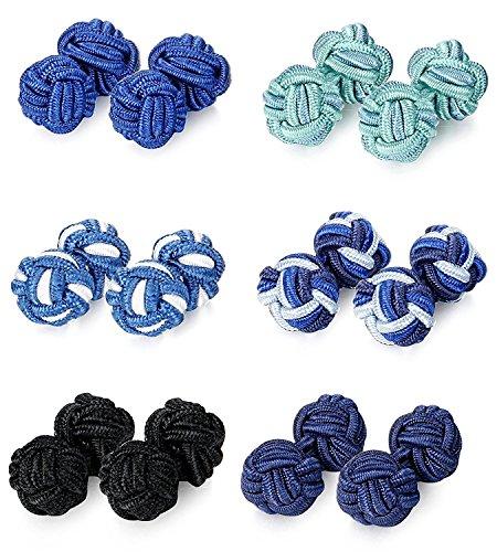 BESTEEL 6 Paia Vintage Gemelli Nodo Seta Blu Nero per Camicia da Uomo Donna
