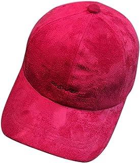 LPKH Unisex Faux Suede Baseball Cap Adjustable Sun Hat for Outdoor Activities Visor Hat hat (Color : Red)