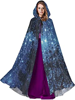 Starry Sky Trees Night Pattern Halloween Cloak Fancy Hooded Cape with Drawstring Adult Cool Witch Robe Extra Long 59