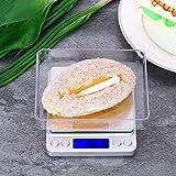 Weehey Báscula de Cocina de precisión 500/0.01g Báscula de joyería de Alta precisión Báscula de Cocina eléctrica de Escala de Alimentos con Dos bandejas Balanza de Cocina Bolsillo para Hornear