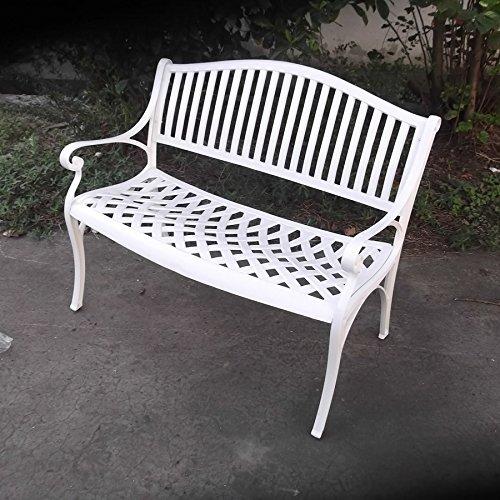 Lazy Susan – GRACE Gartenbank aus Aluminium, Weiß (Beiges Kissen) - 9