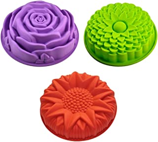 Sharlity 3 Pack Non-Stick Flower Shape Silicone Cake Bread Pie Flan Tart Molds Large Round Sunflower Chrysanthemum Rose Shape Baking Trays for Birthday Party DIY