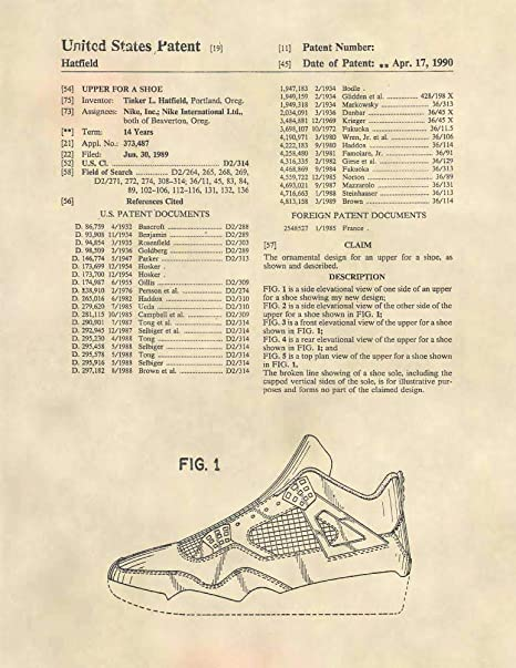 Patent Prints - Air Jordan Retro 4 Sneaker Art - Retro IV Patent Art Poster (8.5 x 11) - 529