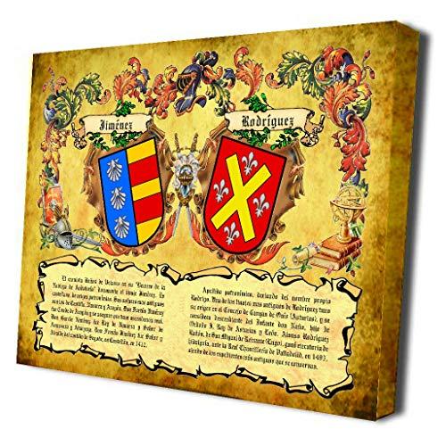 Lienzo con Bastidor de Madera de los Escudos heráldicos de 2 Apellidos con orígenes. Regalo Boda, Aniversario. 30x40 cms.