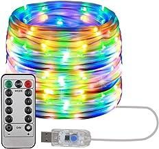 LED-lichtkabel Kerstverlichting met afstandsbediening 8 standen IP65 Waterdichte decoratie voor Kerstmis Halloween Binnen ...
