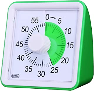 60 Minute Visual Analog Timer–Silent Timer Time Management Tool for Classroom or Meeting Countdown Clock for Kids and Adul...