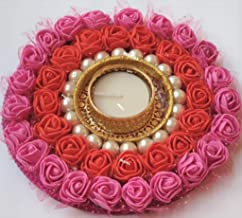 PRAHLL Artificial Flower Rose Tealight Diwali Diya Candle Holder (6-inch, Pink and Red)