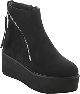 Nature Breeze EI92 Women's Double Zippers Pull Tab Platform Wedge Ankle Booties Black