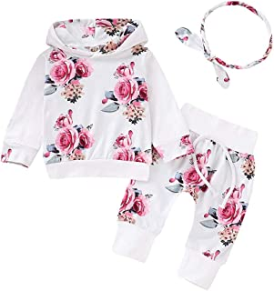 BeautyTop Baby Kinder Outfits Set Baby Mädchen Langarm Blumendruck Kapuzenpullover  Hosen  Haarband 3Pcs Baby Kinderkleidung Baby Toddler Kleidungsset Dreiteiliger Anzug