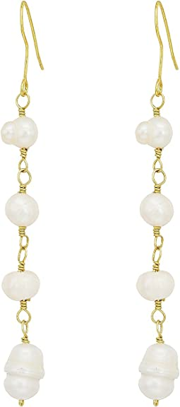 Kenneth Jay Lane - Gold Fresh Water Pearl Bead Drop Fishhook Earrings