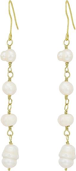 Kenneth Jay Lane Gold Fresh Water Pearl Bead Drop Fishhook Earrings