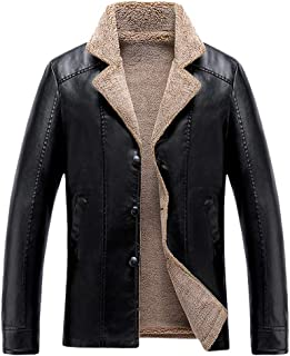 AngelSpace Womens Belted Warm Velvet Notched Lapel Leather Jacket Coat