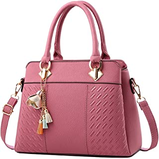 Wultia - Fashion Women Handbags Tassel PU Leather Totes Bag Top-Handle Embroidery Crossbody Bag Shoulder Bag Lady Simple Style Hand Bags Pink