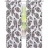 Rideaux occultants imprimés, motifs inspirés du sport de ballons de rugby dessinés à la main, symbole de jeu d'esquisse, œillets de 248 x 274 cm, rideaux occultants pour le salon, marron foncé, blanc