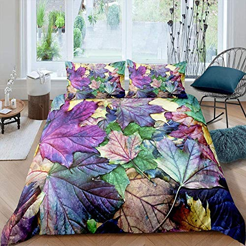 Hqooaceo 3D Modern Pattern Bedding Set Duvet Cover Set Creative Colorful Maple Leaves Plant Leaves Super King (260 X 230 Cm) Comforter Cover 3 Pieces Bed Sets With 2 Pillow 50 X 75 Cm