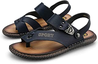 Xujw-shoes, Mens Flip Flops Thong Sandals Slippers Ankle Strap for Men Microfiber Leather Shoes Antislip Decor with Buckle