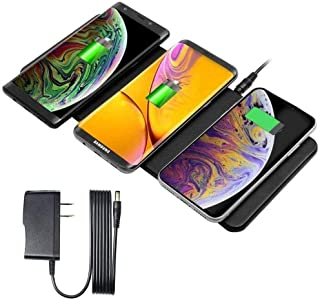 Wireless Charger Station, JE Qi-Certified Ultra-Slim Leather Triple Wireless Charger Pad Compatible with iPhone11/11 Pro/11 Pro Max,Galaxy Note 10/Note10 Plus/S10/S10 Plus/S10E & All QI-Enabl Phones