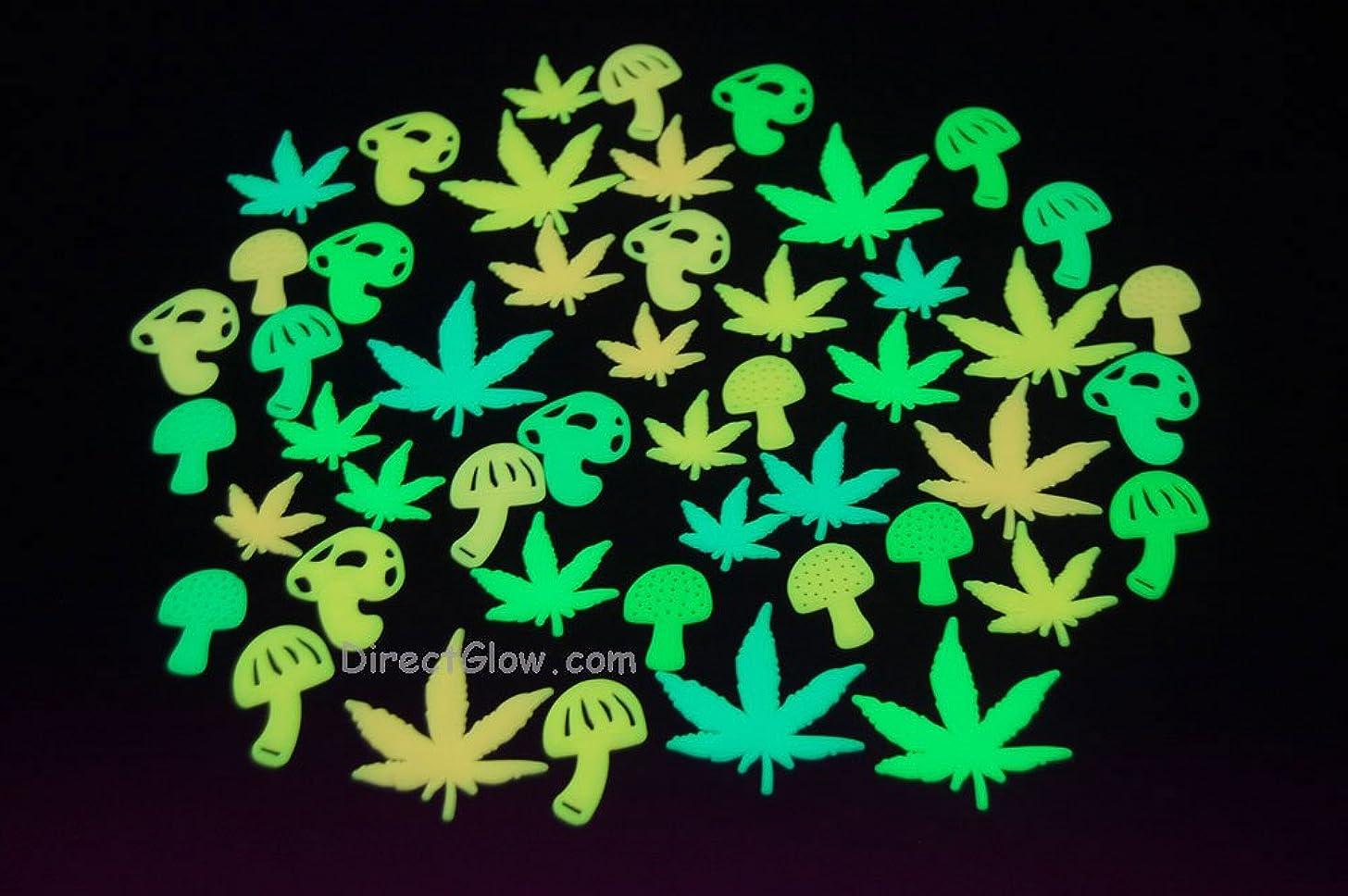48 Piece Glow in the Dark Marijuana Weed Pot Leafs and Mushrooms