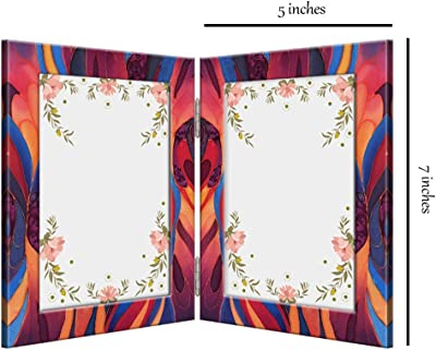 999Store Multicolor Abstract 2 Sided Folding Photo Frame (Printed MDF_10X7 Inches_Multi)