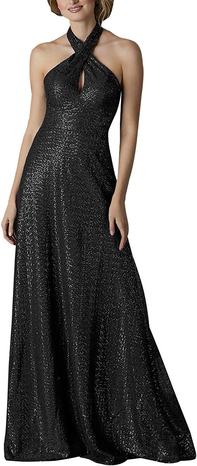 Staypretty Halter Bridesmaid Dresses Long Keyhole Sequined Women Backless Formal Prom Party Gown