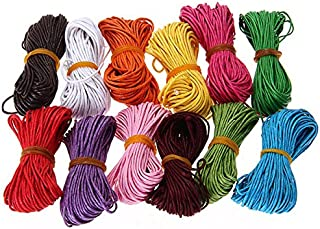 12 colores LEORX 10 m 1 mm cuerda encerada cuerdas para bricolaje hacer pulseras (color al azar)