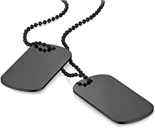 2pcs Dog Tag Pendant Chain Necklace, Mens Military Army Style Necklace,Black 23.5