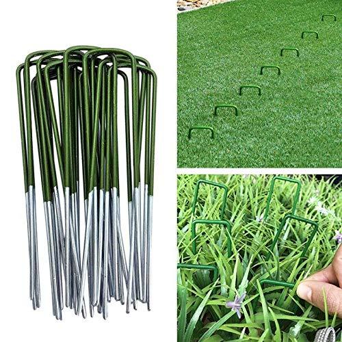 MINGMIN-DZ Dauerhaft Halb Grün Beschichtete Kunstrasen Turf U Shaped Pins Garten Pegs Floral Craft-Rasen-Garten-Nagel (Color : 100PCS)