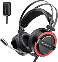 ABKONCORE CH713M Gaming Headset Esport with 7.1 Sound Card, Gaming Headphones for PS4, PC, Xbox,�Nintendo Switch, Laptop, Mac with Noise-Cancelling Mic, Bass Vibration, LED Light, in-line Controller