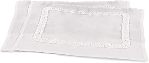 "SARO LIFESTYLE Mathilde Collection Ruffled Linen Placemat - set of 4 pcs, 14"" x 20"", Ivory"