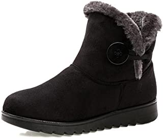 Slduv7 Fur Lined Womens Snow Boots Winter Button Pull On Ankle Booties Shoes
